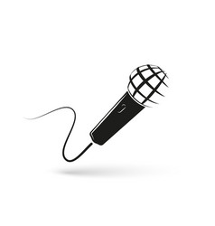 stylized monochrome microphone on white background vector image vector image
