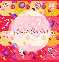 sweets background with lolipop and jelly beans vector image