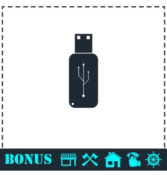 Usb flash drive icon flat vector