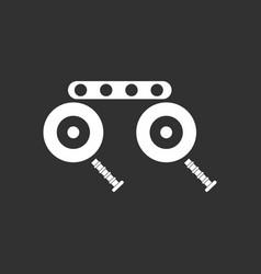 White icon on black background kids metal vector