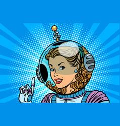 woman cosmonaut finger indicates vector image vector image