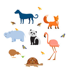 Zoo wild animals flat set vector