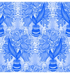 Pattern with stylize silhouettes of tulips vector