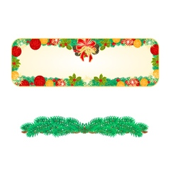 Banner christmas spruce and bow with pine cones vector