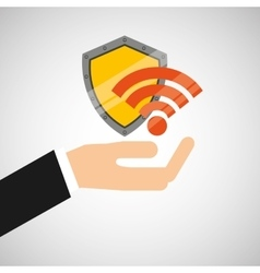 Hand hold protected concept wifi vector