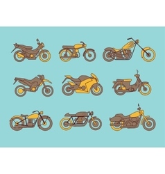 Different type of motorcycles icons vector