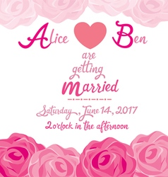 Wedding invitation card template with rose frame vector