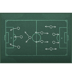 Realistic blackboard drawing a soccer game strateg vector