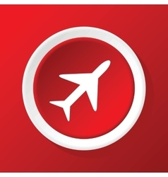 Plane icon on red vector