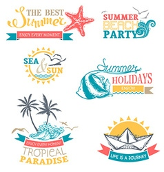 Set of summer labels and badges vector