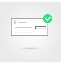 Bank check with green check mark icon and shadow vector