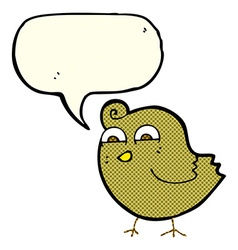 Cartoon funny bird with speech bubble vector