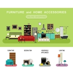 Furniture and home accessories banner vector