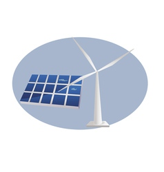 Solar panel wind turbine vector