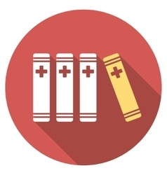 Medical books flat round icon with long shadow vector