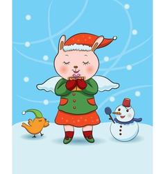 christmas bunny angel vector image
