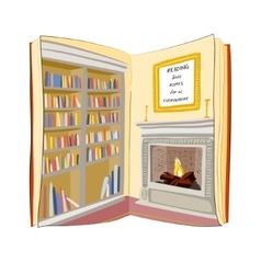 Open book reading finds home everywhere concept vector