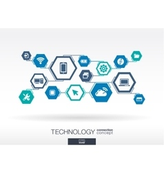 Technology network hexagon abstract background vector