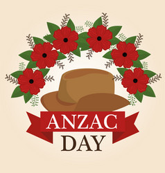 Anzac day poster with red poppy flower vector