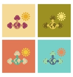 Assembly flat icons nature earth greenhouse effect vector