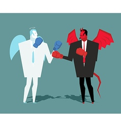 Battle heaven and hell angel and demon combat vector