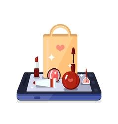 Beauty shop online composition vector
