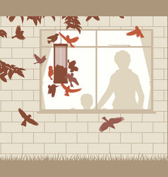 bird feeder entertainment vector image vector image