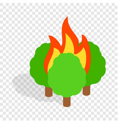 burning trees isometric icon vector image vector image