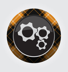 Button orange black tartan - three cogwheel icon vector