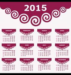 Calendar of 2015 with spiral design vector image