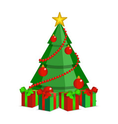 cartoon christmas tree on white backdrop vector image vector image
