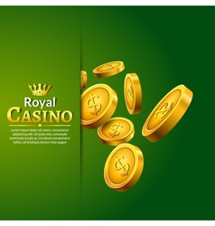 Casino money coins winner Golden coins and crown vector image vector image