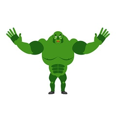 Cheerful ogre spread his arms in an embrace good vector