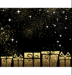 Christmas background with golden gifts vector