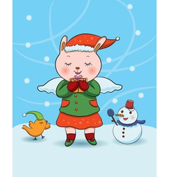 christmas bunny angel vector image