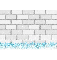 christmas snow white brick background vector image vector image