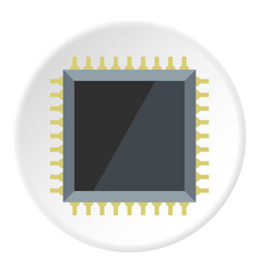 Computer microchip icon circle vector