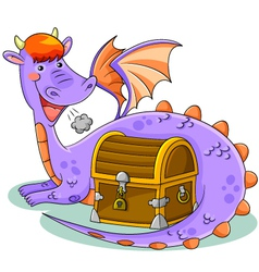 dragon and treasure vector image vector image