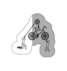 Figure people with pulleys hanging the bicycle vector