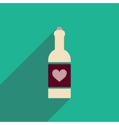 Flat icon with long shadow heart bottle vector