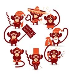 Happy new year monkey vector