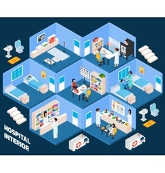 Hospital isometric interior vector image