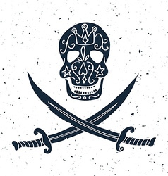 Jolly Roger Hand drawn of skull with swords vector image