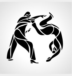 judo fighters round pictogram or logo martial vector image