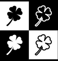 Leaf clover sign black and white icons vector