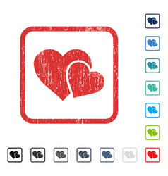 Love hearts icon rubber watermark vector