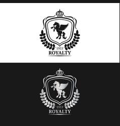 Monogram logo template luxury pegasus vector