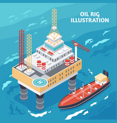 oil industry isometric composition vector image vector image