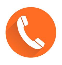 Phone icon in flat style on round orange vector