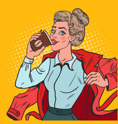 pop art busy girl with morning coffee vector image